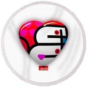 Red Love Heart Round Beach Towel