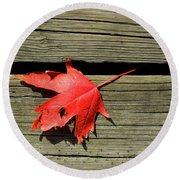 Red Maple Leaf On A Boardwalk  Round Beach Towel