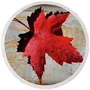 Red Maple Leaf With Burnt Edge Round Beach Towel