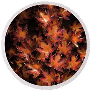 Red Maple Leaves Round Beach Towel