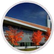 Red Maple Trees And Modern Architecture Of Seneca College York U Round Beach Towel