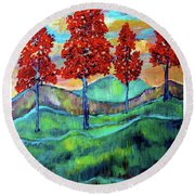 Red Maples On Green Hills With Name And Title Round Beach Towel