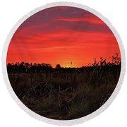 Red Marsh Sunrise Round Beach Towel