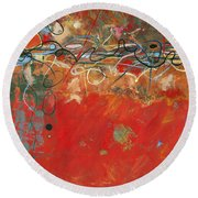 Red Meander Round Beach Towel