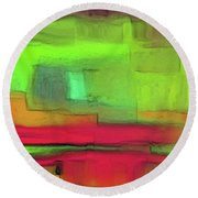Red Meets Green Round Beach Towel