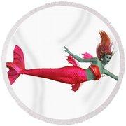 Red Mermaid On White Round Beach Towel