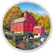 Red Mill Nj Fall Landscape Round Beach Towel