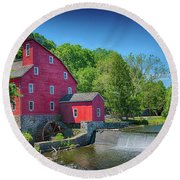Red Mill Of Clinton New Jersey Round Beach Towel