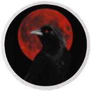 Red Moon Black Crow Round Beach Towel