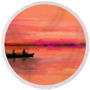 Red Morning Spin Round Beach Towel