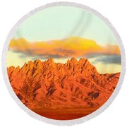 Red Mountain Sunset Organs Round Beach Towel