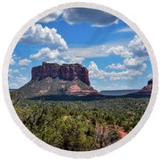 Red Mountain Top Round Beach Towel