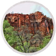 Red Mountains Zion National Park Usa Round Beach Towel