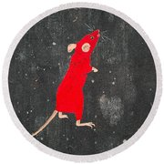 Red Mouse Round Beach Towel