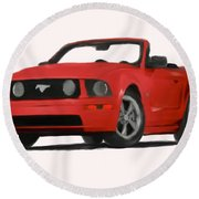 Red Mustang Round Beach Towel