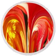 Red N Yellow Flowers 4 Round Beach Towel