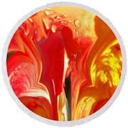 Red N Yellow Flowers 5 Round Beach Towel
