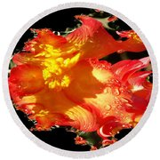 Red N Yellow Flowers Round Beach Towel