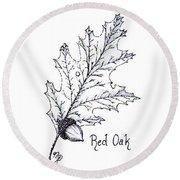 Red Oak Leaf And Acorn Round Beach Towel