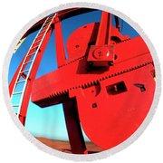 Red Oil Well Pump Oilfield Round Beach Towel