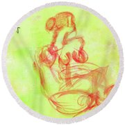 Red On Green Figure Round Beach Towel