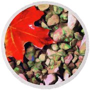 Red On The Rocks Round Beach Towel