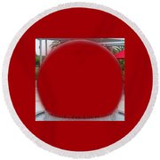 Red Orb Round Beach Towel