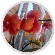 Red Orchid Flowers 01 Round Beach Towel