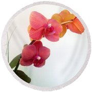 Red Pink Golden Orchid Flowers 03 Round Beach Towel
