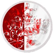 Red Ornament Round Beach Towel