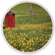 Red Outhouse 6 Round Beach Towel