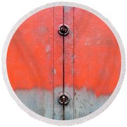 Red Over Grey Round Beach Towel