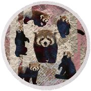 Red Panda Abstract Mixed Media Digital Art Collage Round Beach Towel