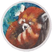 Red Panda Sleeping Round Beach Towel