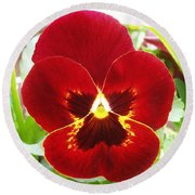 Red Pansy Round Beach Towel