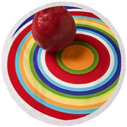 Red Pear On Circle Plate Round Beach Towel