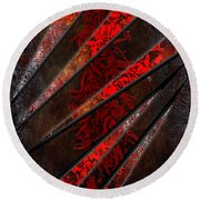 Red Pepper Abstract Round Beach Towel