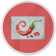 Red Pepper Round Beach Towel