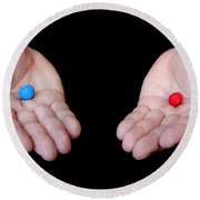 Red Pill Blue Pill Round Beach Towel by Semmick Photo