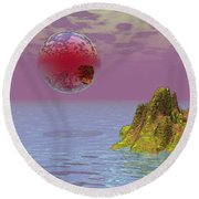 Red Planet Fantasy Round Beach Towel