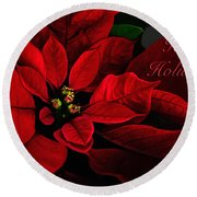 Red Poinsettia Happy Holidays Card Round Beach Towel