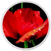 Red Pop Photograph Round Beach Towel