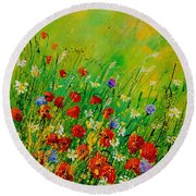 Red Poppies 450708 Round Beach Towel