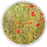 Red Poppies And Wild Flowers Round Beach Towel