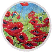 Red Poppies By Prankearts Round Beach Towel