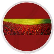 Red Poppies Field  Round Beach Towel
