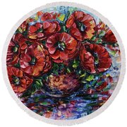 Red Poppies In A Vase Round Beach Towel