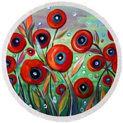 Red Poppies In Grass Round Beach Towel
