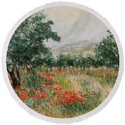 Red Poppies In The Olive Garden Round Beach Towel