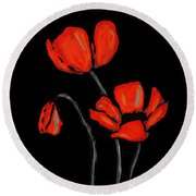 Red Poppies On Black By Sharon Cummings Round Beach Towel